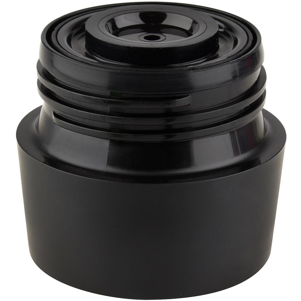 Emsa Thermobecher »Travel Mug Grande«, 513351, gebürsteter Edelstahl, 360 ml Inhalt, auslaufsicher, 4h heiß, 8h kalt, Schwarz