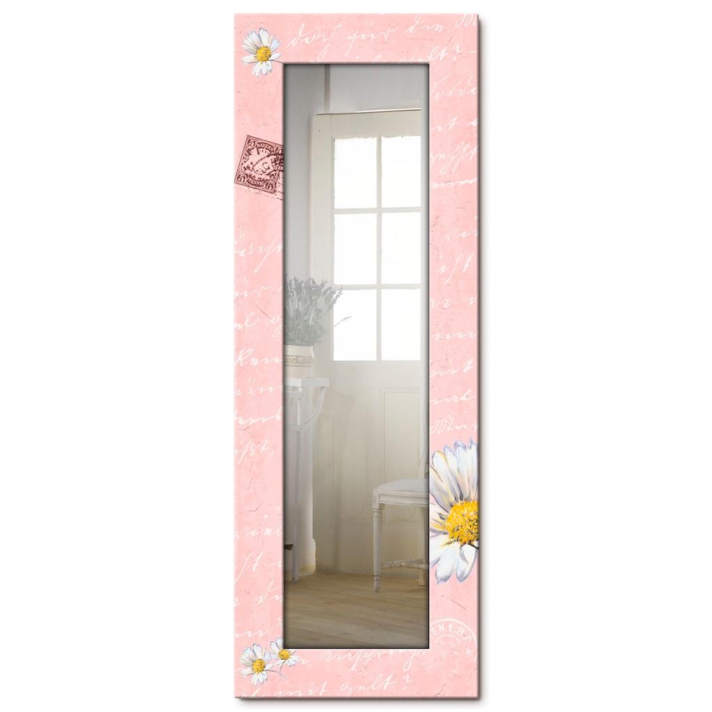 Artland Wandspiegel »Gänseblümchen auf rosa«, gerahmter Ganzkörperspiegel mit Motivrahmen, geeignet für kleinen, schmalen Flur, Flurspiegel, Mirror Spiegel gerahmt zum Aufhängen