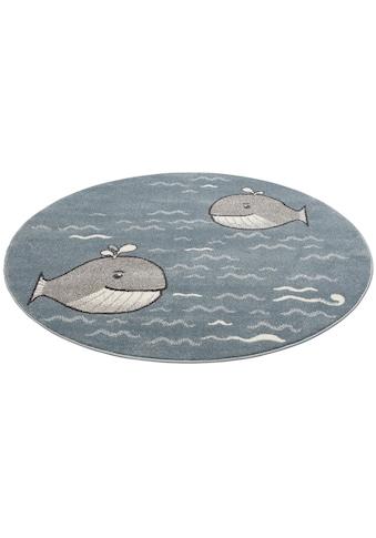 Lüttenhütt Kinderteppich »Whale«, rund, 14 mm Höhe, Wal-Motiv kaufen
