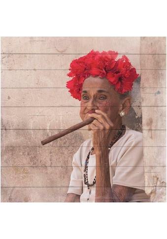 Home affaire Holzbild »Havanna Lady mit Kopfschmuck«, 40/40 cm kaufen