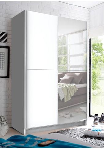 Schwebetürenschrank mit Spiegel, Teleskopkleiderstange und zusätzlichen Boden kaufen