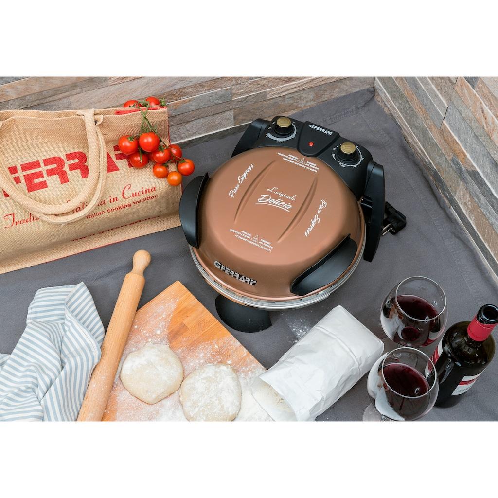 G3Ferrari Pizzaofen »Delizia G1000608 kupfer«, Grill, 1200 W, bis 400 Grad mit feuerfestem Naturstein / Pizza und Fladen uvm. in 3 Minuten / die Nr. 1 weltweit der Pizzamaker / auch für Tisch und Garten