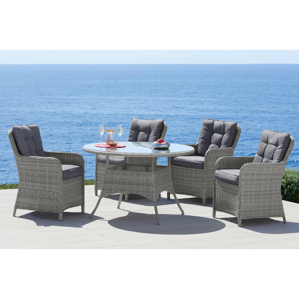 KONIFERA Gartenmöbelset »Menorca«, (13 tlg.), 4 Stühle, Tisch Ø 120 cm, Polyrattan