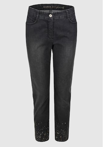 bianca 5-Pocket-Jeans »SHAPE«, in edler Waschung mit Strassdetails am Saum kaufen