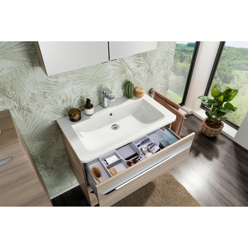 FACKELMANN Waschbeckenunterschrank »Luxor«, Orga-Set in der Oberen Schublade, erweiterbar auf 100 u. 120 cm