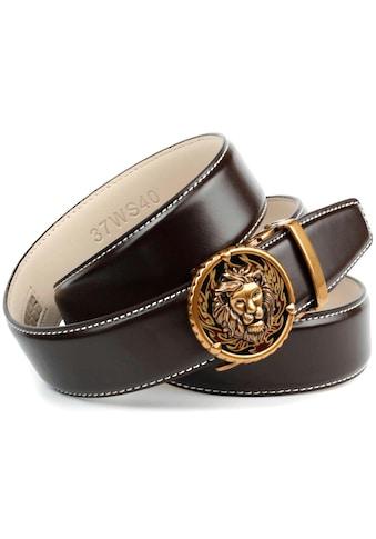 Anthoni Crown Ledergürtel, in dunkelbraun mit Kontrast Stitching in weiß kaufen