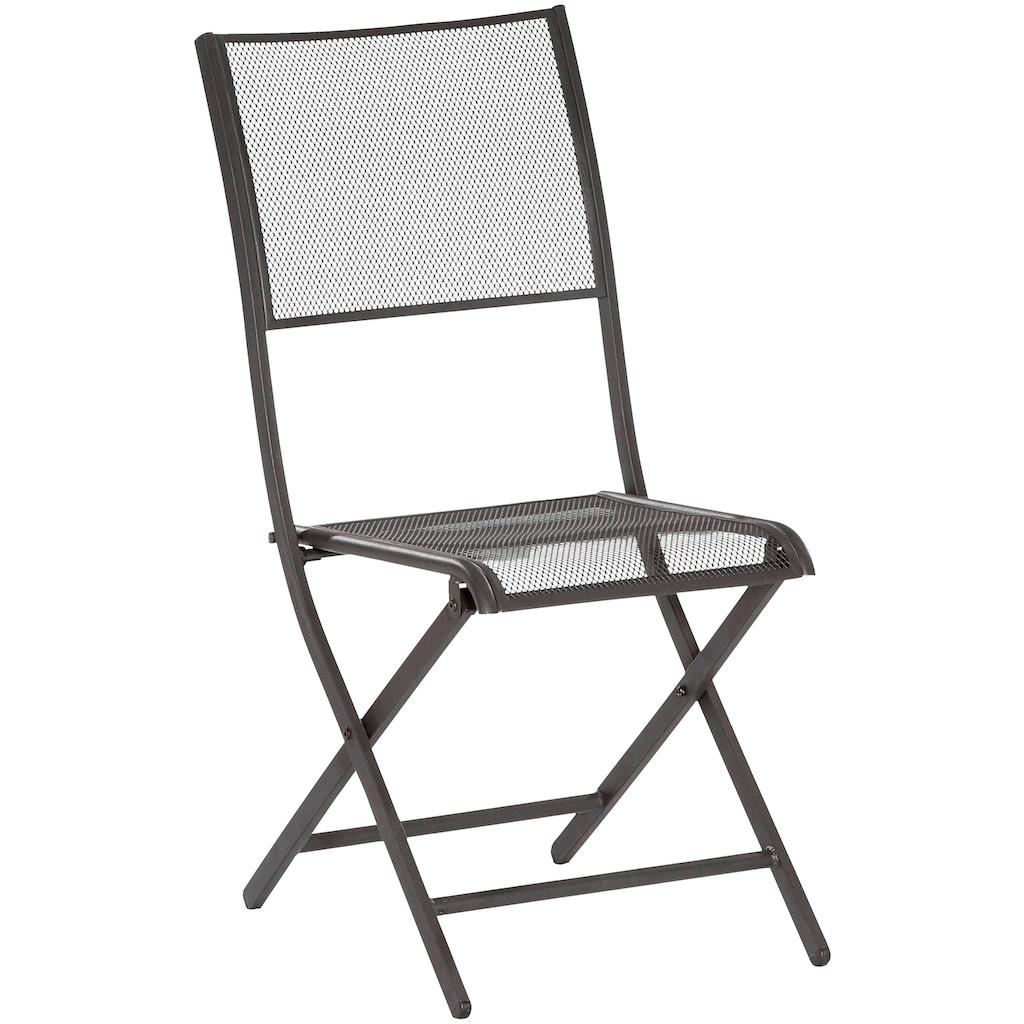 MERXX Gartenstuhl »Samos«, 2er Set, stapelbar, Oval-Stahlrohr-Gestell 30x15 mm, schwarz