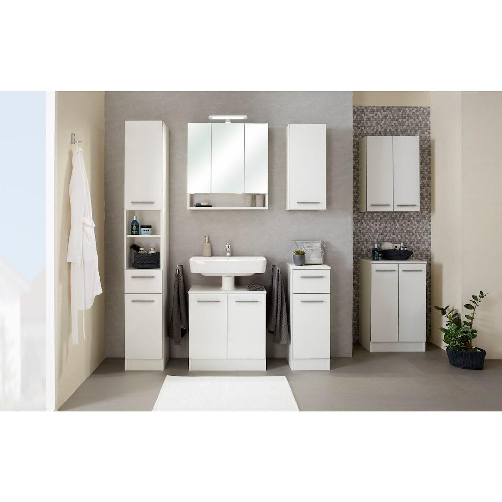 PELIPAL Waschbeckenunterschrank »Quickset 953«, Breite 60 cm, Badschrank mit Sockel und Siphonausschnitt, Absetzung in Beton-Optik