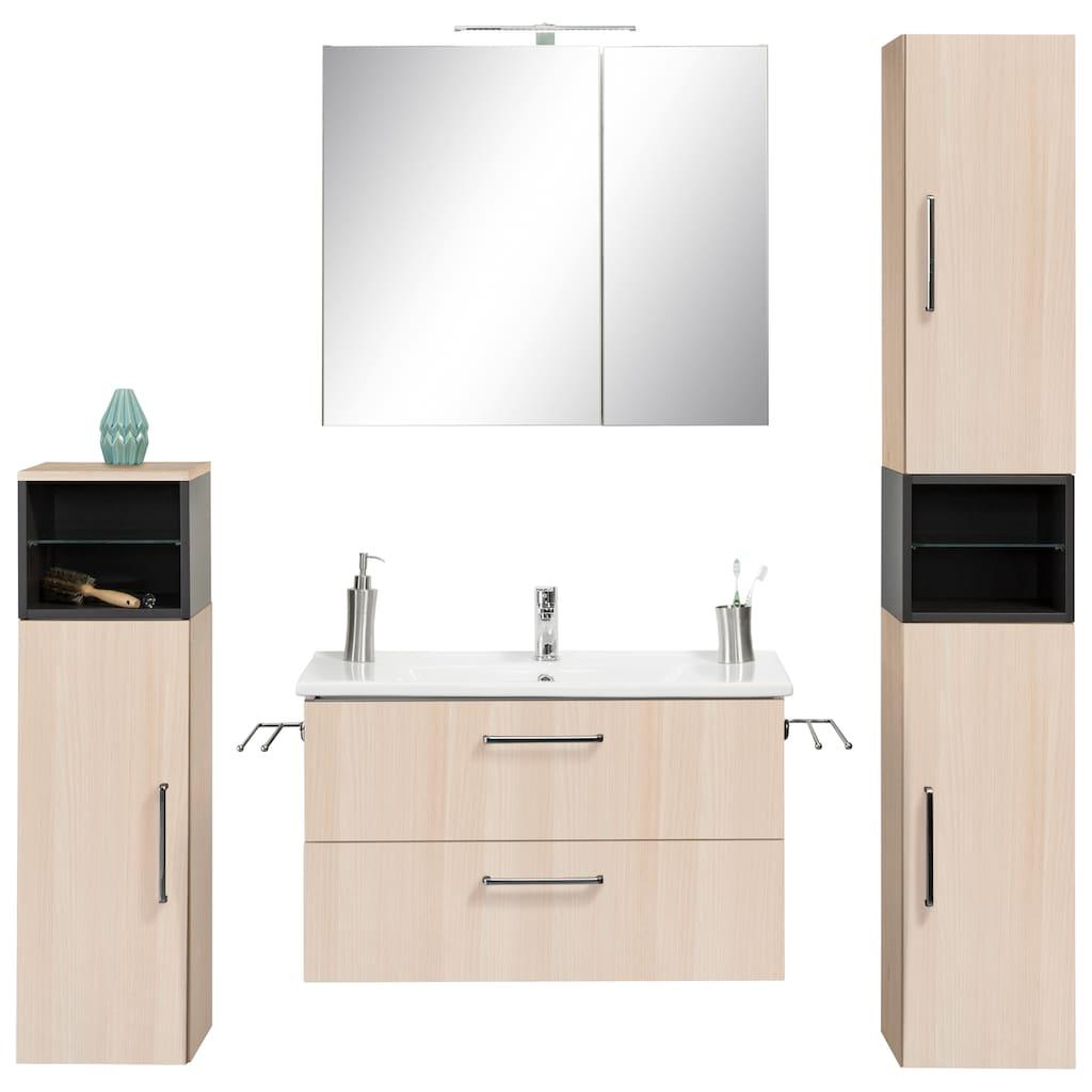 OPTIFIT Badmöbel-Set »Napoli«, (Set, 10 St.), mit farblich abgesetztem Regalelement und Soft-Close-Funktion