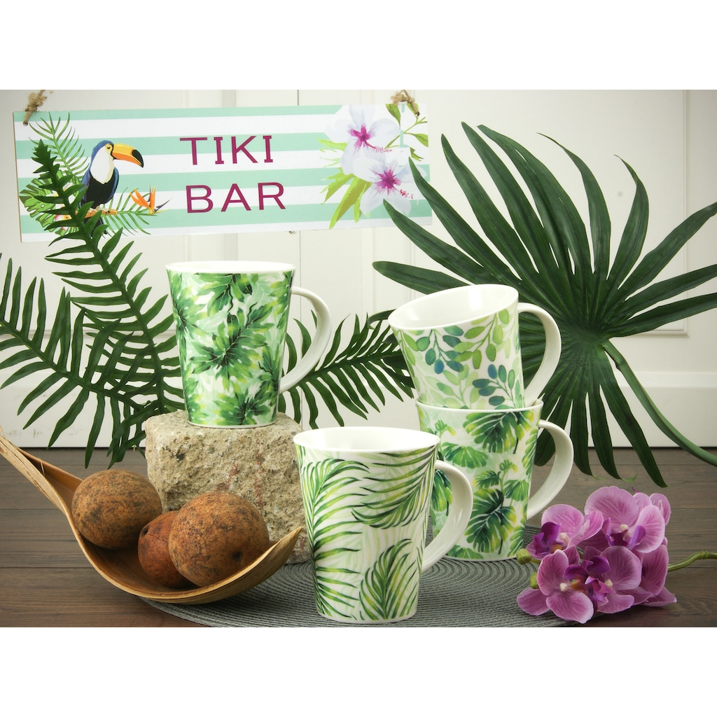 CreaTable Becher »Tropical«, (Set, 4 tlg.), tropische Blattmotive, 4-teilig