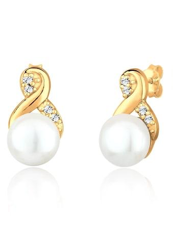 Elli Paar Ohrstecker »Infinity Perle Kristalle 925 Silber« kaufen