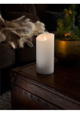 KONSTSMIDE LED-Kerze, LED Echtwachskerze, weiß, mit 3D Flamme, Ø 10 cm, Höhe: 21,5 cm kaufen