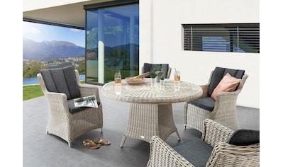 Destiny Gartenmöbelset »Luna«, (13 tlg.), 4 Sessel, 1 Tisch Ø 120er, UV beständiges... kaufen