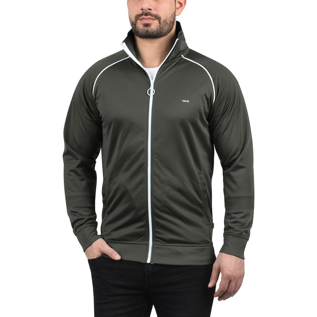 Solid Trainingsjacke »Leander«, Sweatshirtjacke mit weißem Reißverschluss