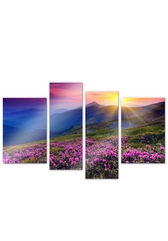 Wall-Art Mehrteilige Bilder »Sonne in den Bergen (4-teilig)«, (Set, 4 St.) kaufen