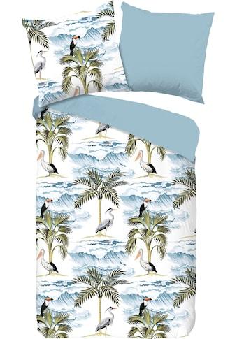 good morning Wendebettwäsche »Waves«, mit exotischen Vögeln und Palmen kaufen