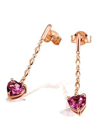 goldmaid Paar Ohrhänger Herz 585/ -  Rotgold 2 Rhodolithe kaufen
