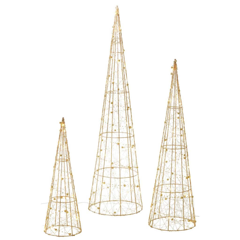 LED Baum »Pyramide«, 3 St., Warmweiß, mit 90 warmweißen LEDs