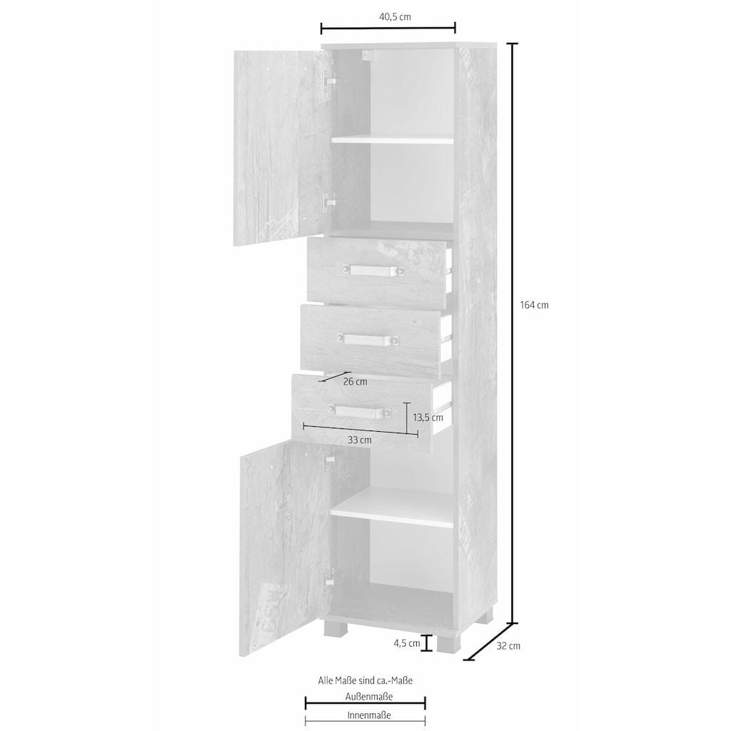 Schildmeyer Hochschrank »Milan«, Breite 40,5 cm, mit 2 Türen, 3 Schubladen & Metallgriffen