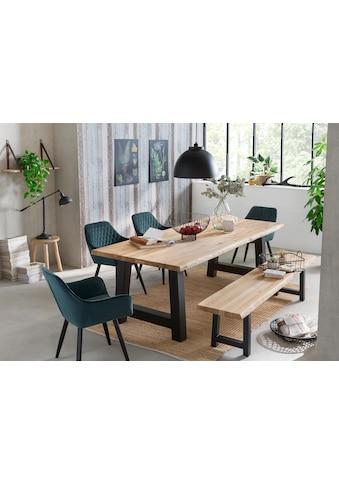 Home affaire Esstisch »Tristan«, massive Balkeneiche geölt mit Baumkante kaufen