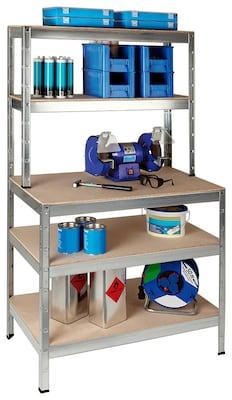 Schulte Set 1 Steckregal und 1 Anbauregal Weiß 180 cm x 180