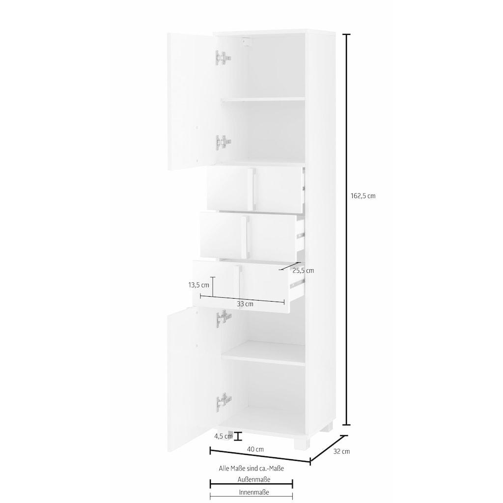 Schildmeyer Hochschrank »Kampen«, Höhe 163,7 cm, Badezimmerschrank mit Metallgriffen, Türen mit Soft-Close-Funktion, wechselbarer Türanschlag und 3 praktische Schubladen