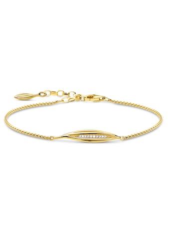 THOMAS SABO Armband »Blatt gold, A1935-414-14-L19v«, mit Zirkonia kaufen