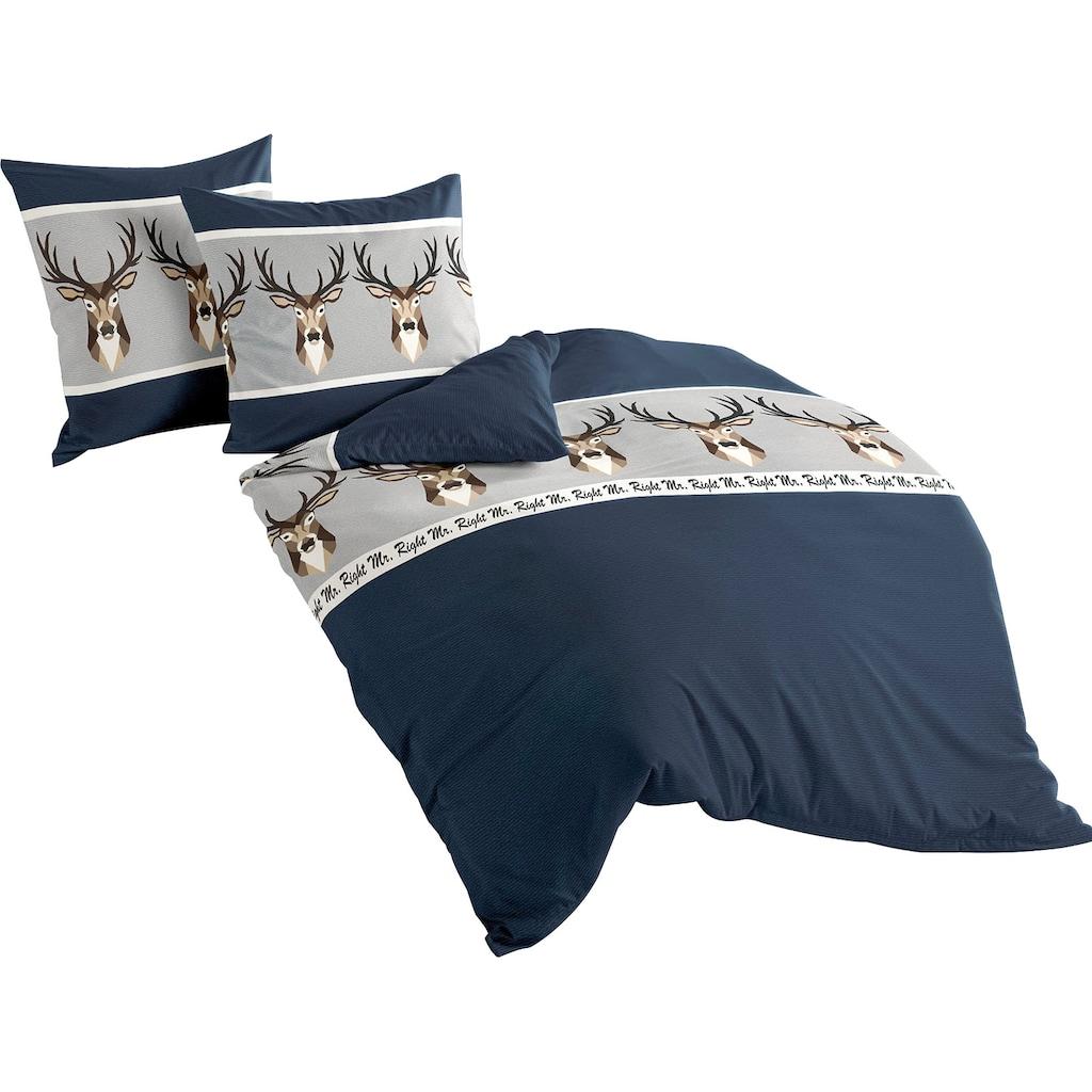 BIERBAUM Bettwäsche »Blue Deer«, mit Hirschen und Schriftzug