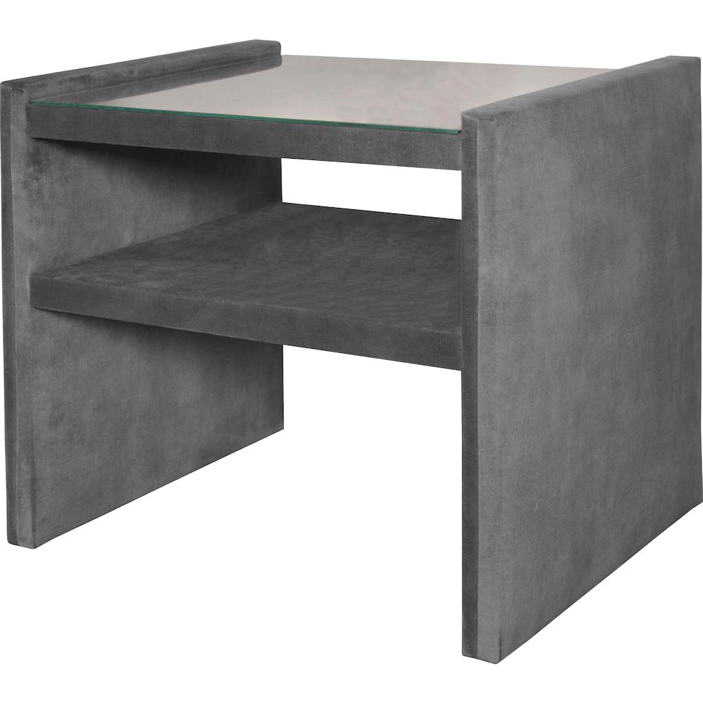 alina Nachttisch »Sancho«, inklusive Glasplatte, passend zu Boxspringbett »Henri« & »Parker«