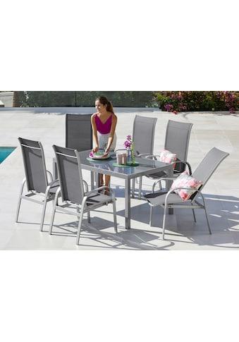 MERXX Gartenmöbelset »Marini«, 7 - tlg., 6 Stühle, Tisch 150x90, Alu/Textil kaufen