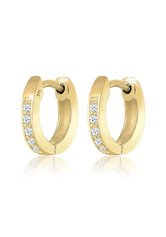 Elli Paar Creolen »Creolen Basic Diamant (0.05 ct.) 375 Gelbgold« kaufen