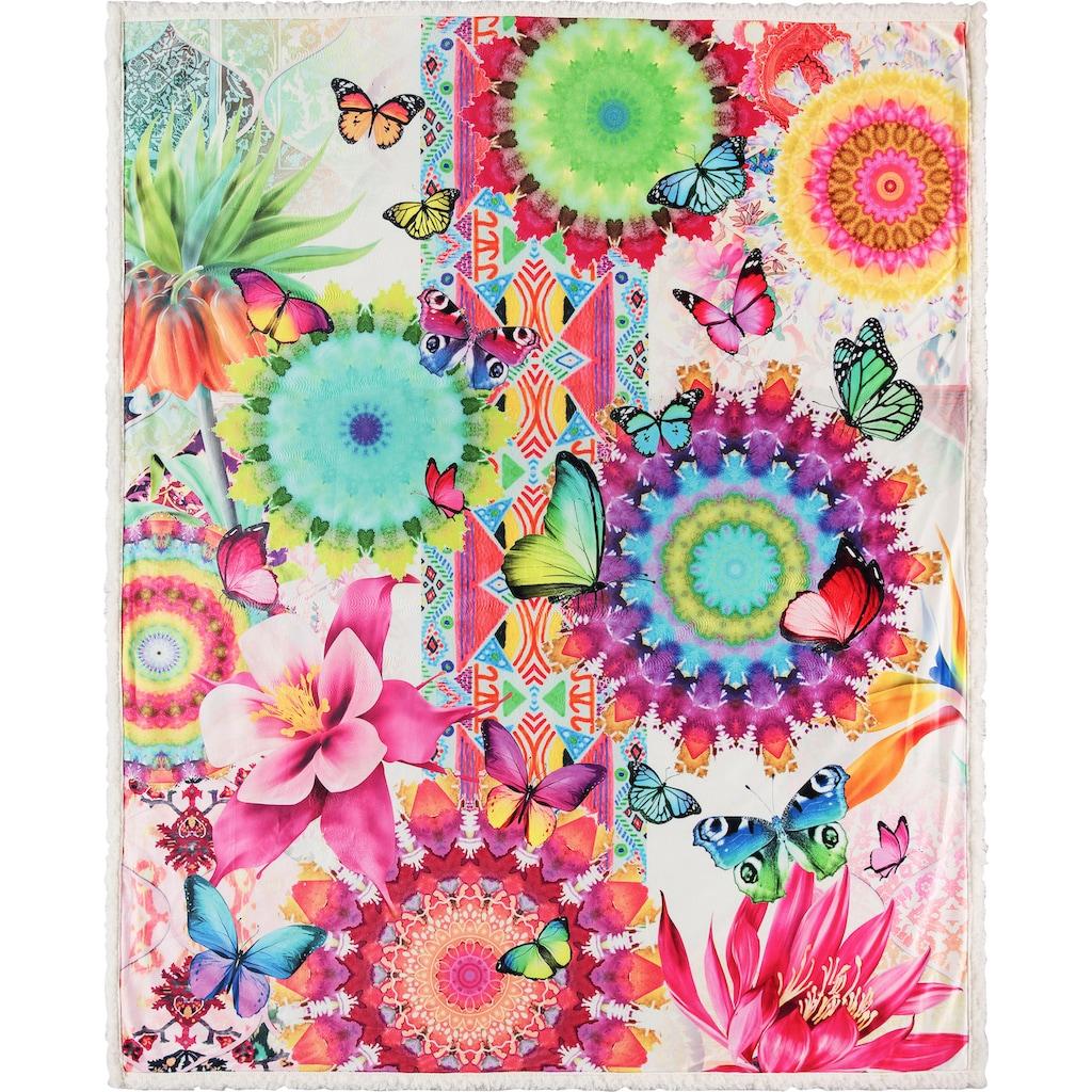 hip Plaid »Feliz«, mit Mandalas und Schmetterlingen