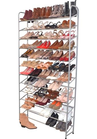 Schuhregal, aus Metall, Breite 100 cm, Höhe 187 cm, Platz für ca. 60 Paar Schuhe kaufen