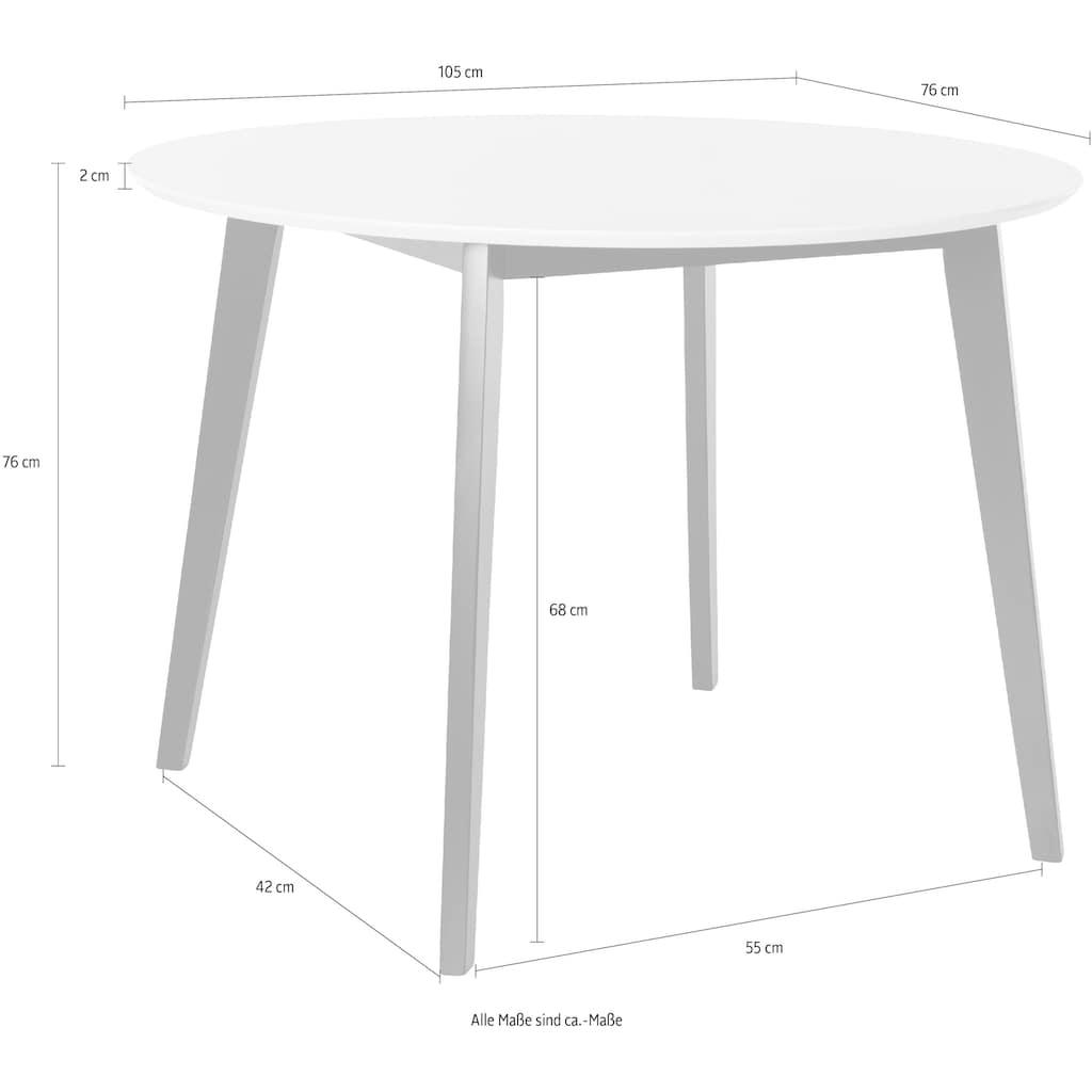 INOSIGN Esstisch »Cody«, mit Beinen aus massiver Kiefer, runde MDF-Tischplatte, in 2 verschiedenen Farbvarianten