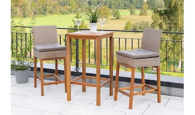 MERXX Gartenmöbelset »Bar-Set«, (3 tlg.), 2 Barstühle mit Bartisch für den Outdoorbereich kaufen