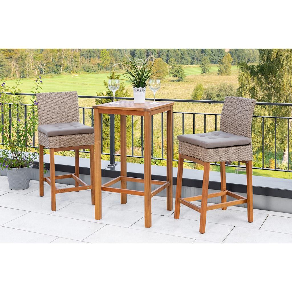 MERXX Gartenmöbelset »Bar-Set«, (3 tlg.), 2 Barstühle mit Bartisch für den Outdoorbereich