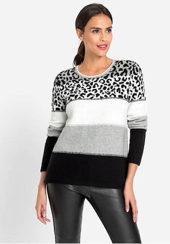 Olsen Rundhalspullover, mit Blockstreifen und Leopardenmuster kaufen