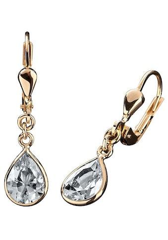 Firetti Paar Ohrhänger »Tropfen, elegant, Gelbgold«, mit Zirkonia kaufen