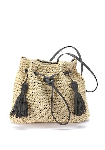 LASCANA Umhängetasche, Strandtasche aus leichtem Papierstroh mit modischen Tasseln kaufen