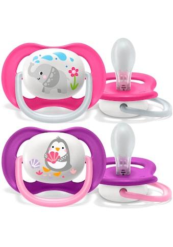 Philips AVENT Schnuller »SCF080/08«, ultra air Schnuller, 6 bis 18 Monate Girl, Kiefergerecht und BPA-frei, Doppelpack, Pinguin/Elefant kaufen