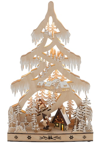 LED Baum »Schneelandschaft«, Warmweiß, mit Hütte und Skifahrern, Höhe ca. 48 cm kaufen