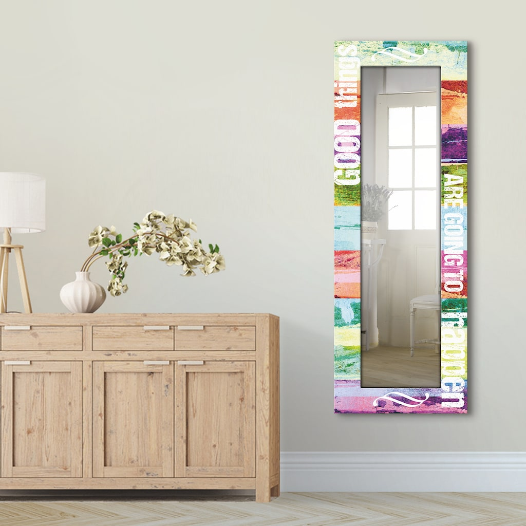 Artland Wandspiegel »Gute Dinge werden passieren«, gerahmter Ganzkörperspiegel mit Motivrahmen, geeignet für kleinen, schmalen Flur, Flurspiegel, Mirror Spiegel gerahmt zum Aufhängen