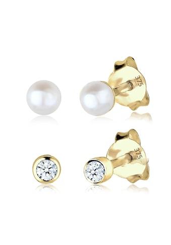 Elli Ohrring-Set »Diamant (0.06 ct) Süßwasserzuchtperle 375 Gelbgold« kaufen