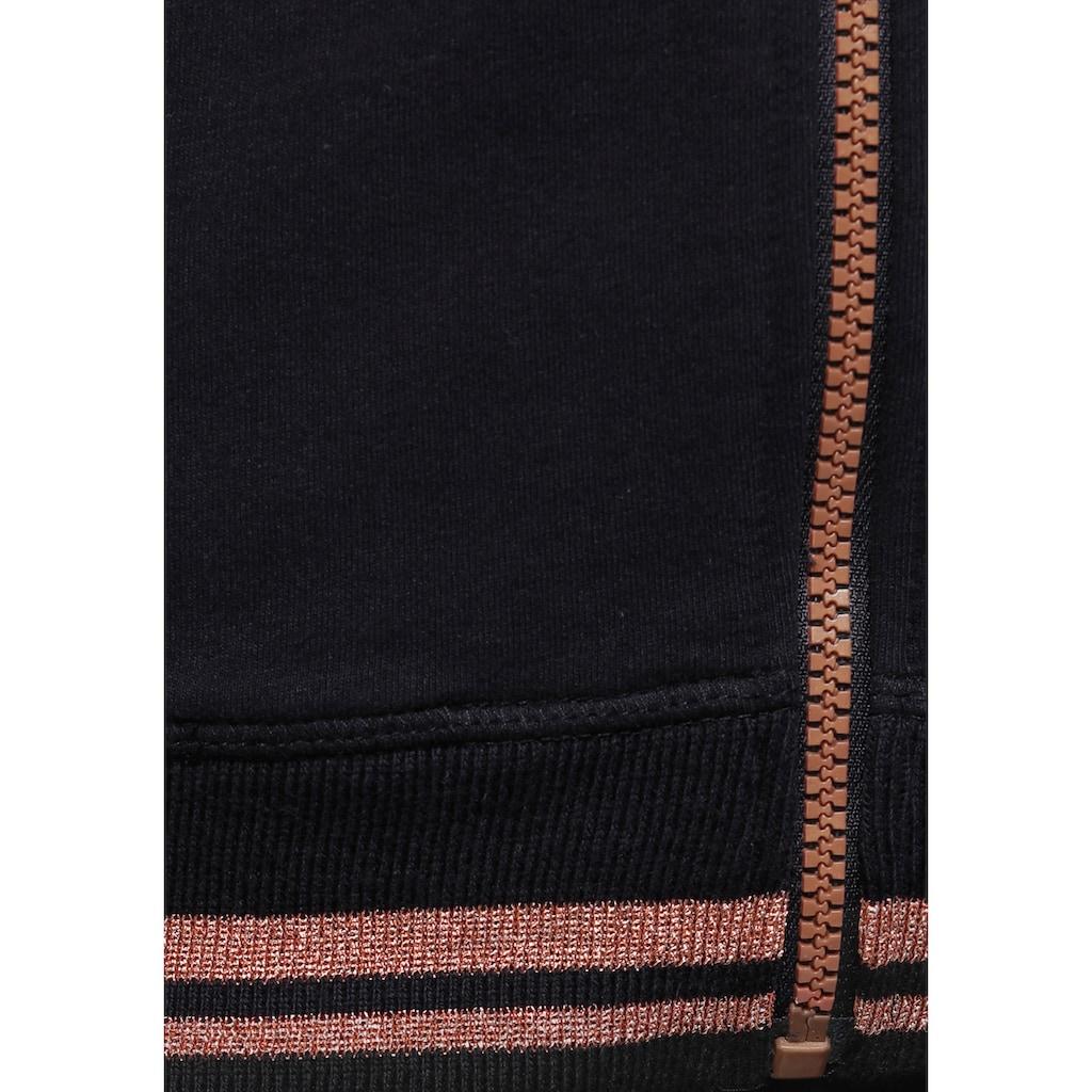 H.I.S Sweatjacke, mit metallisch glänzenden Details
