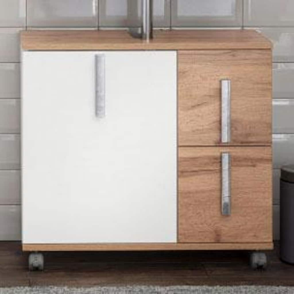 Schildmeyer Waschbeckenunterschrank »Kampen«, Höhe 60 cm, Badezimmerschrank mit Metallgriffen, Tür mit Soft-Close-Funktion, 2 praktische Schubladen, mit Ausschnitt für Abwasserleitung