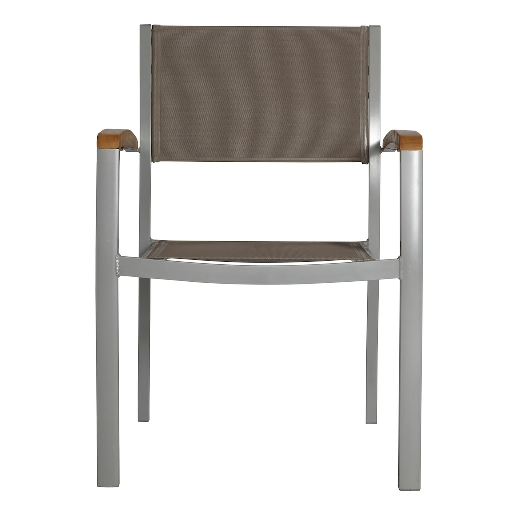 MERXX Gartenstuhl »Monaco«, 2er Set, Aluminium/Textil/Akazie, stapelbar, grau