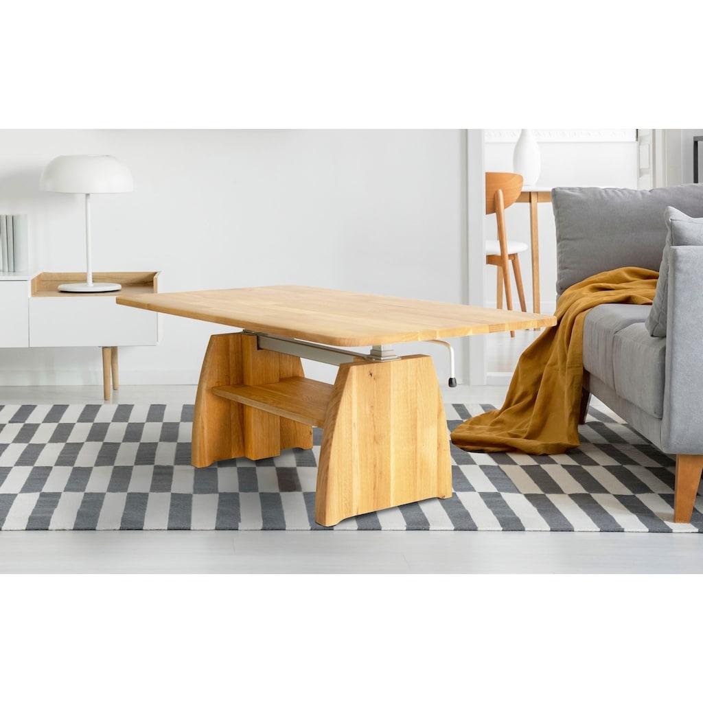 Home affaire Couchtisch »Marco«, aus massiver geölter Wildeiche, höhenverstellbar von 47 auf 66 cm