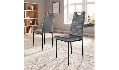 my home Esszimmerstuhl »Mandy«, (2 oder 4 Stück) mit Samtbezug, Rückenlehne mit Griff zum einfachen Zurückziehen kaufen
