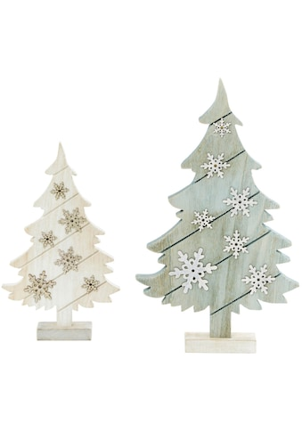 LED Baum »Tannen«, 2 St., Warmweiß, veredelt mit Glitzer-Schneeflocken kaufen