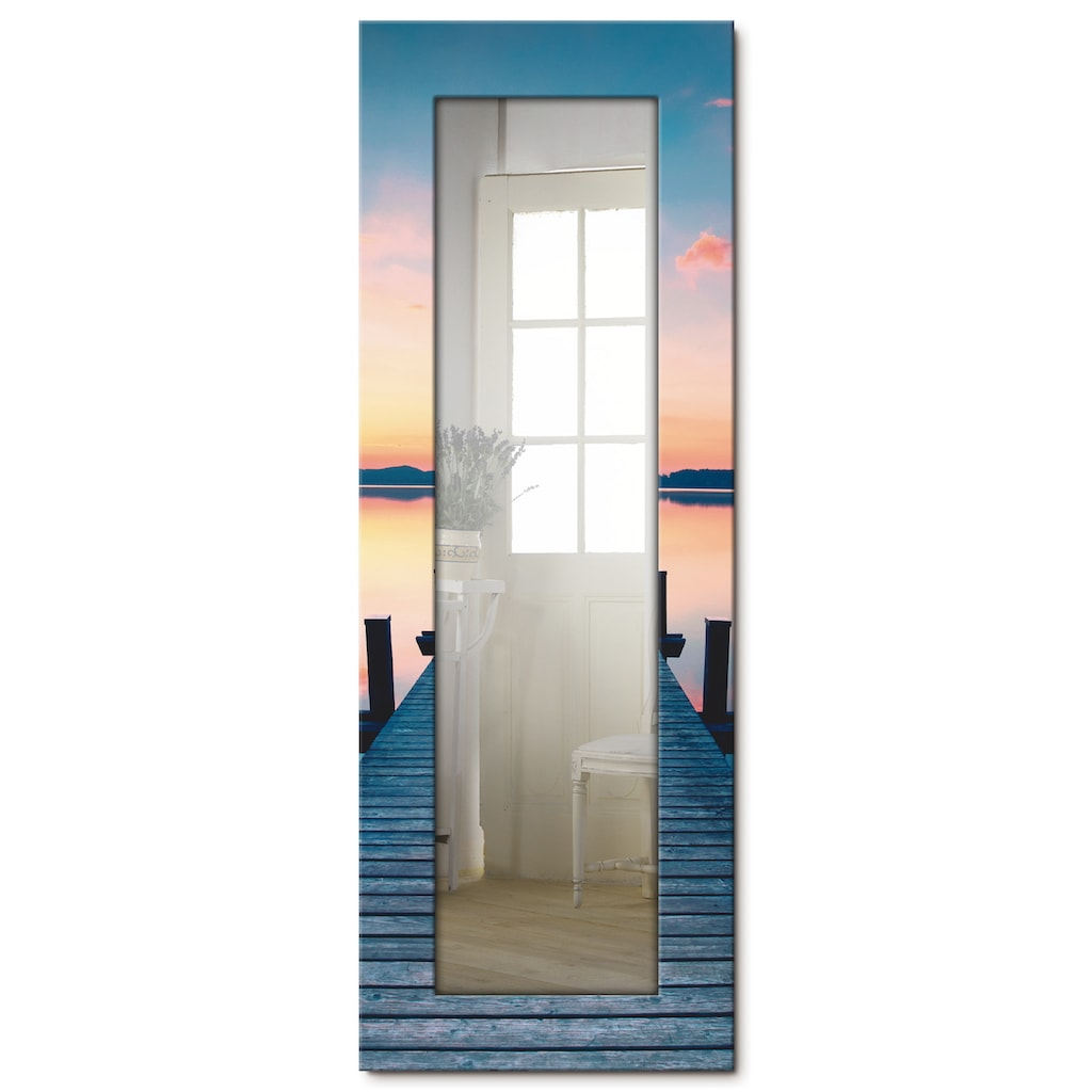 Artland Wandspiegel »Langer Pier am See im Sonnenaufgang«, gerahmter Ganzkörperspiegel mit Motivrahmen, geeignet für kleinen, schmalen Flur, Flurspiegel, Mirror Spiegel gerahmt zum Aufhängen